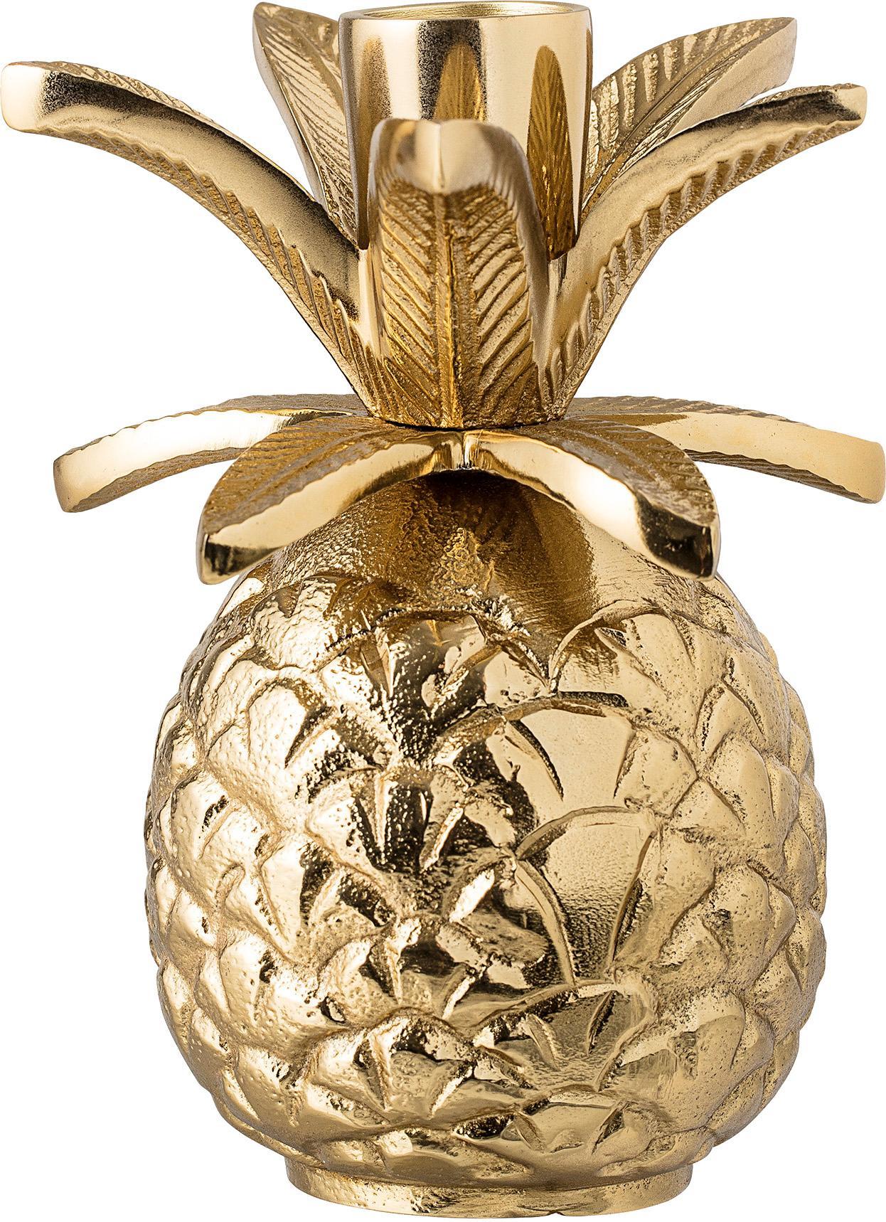 Kandelaar Pineapple, Gelakt aluminium, Goudkleurig, Ø 10 x H 14 cm