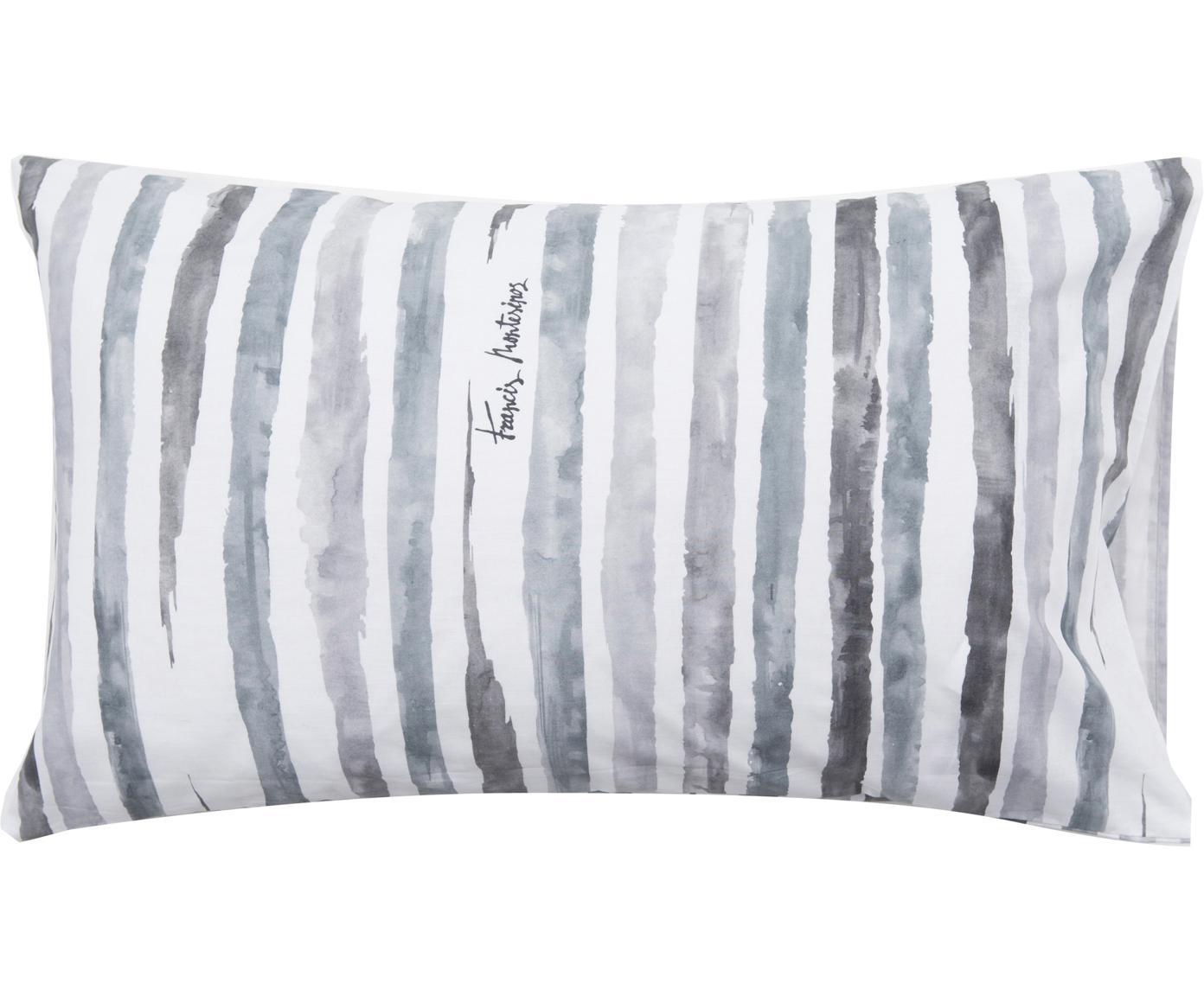 Fundas de almohada Capri, 2uds., Algodón, Blanco, tonos de gris, An 50 x L 80 cm
