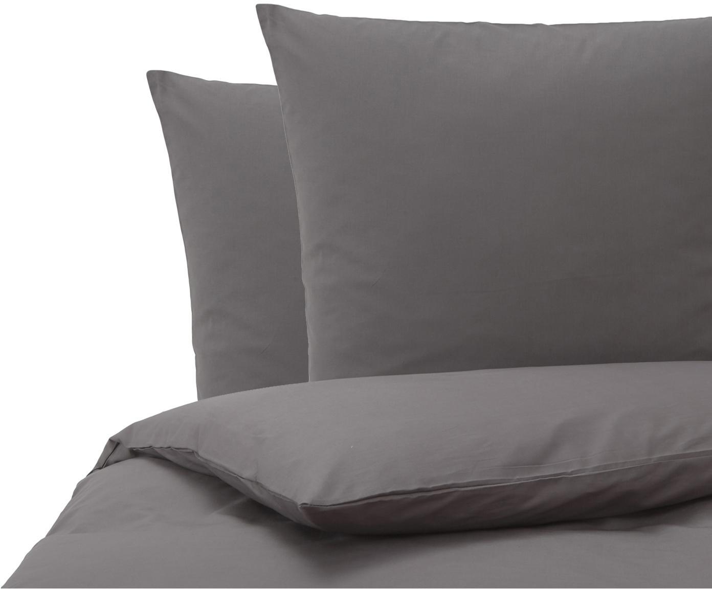 Baumwoll-Bettwäsche Weekend in Anthrazit, 100% Baumwolle  Fadendichte 145 TC, Standard Qualität  Bettwäsche aus Baumwolle fühlt sich auf der Haut angenehm weich an, nimmt Feuchtigkeit gut auf und eignet sich für Allergiker., Anthrazit, 200 x 200 cm + 2 Kissen 80 x 80 cm