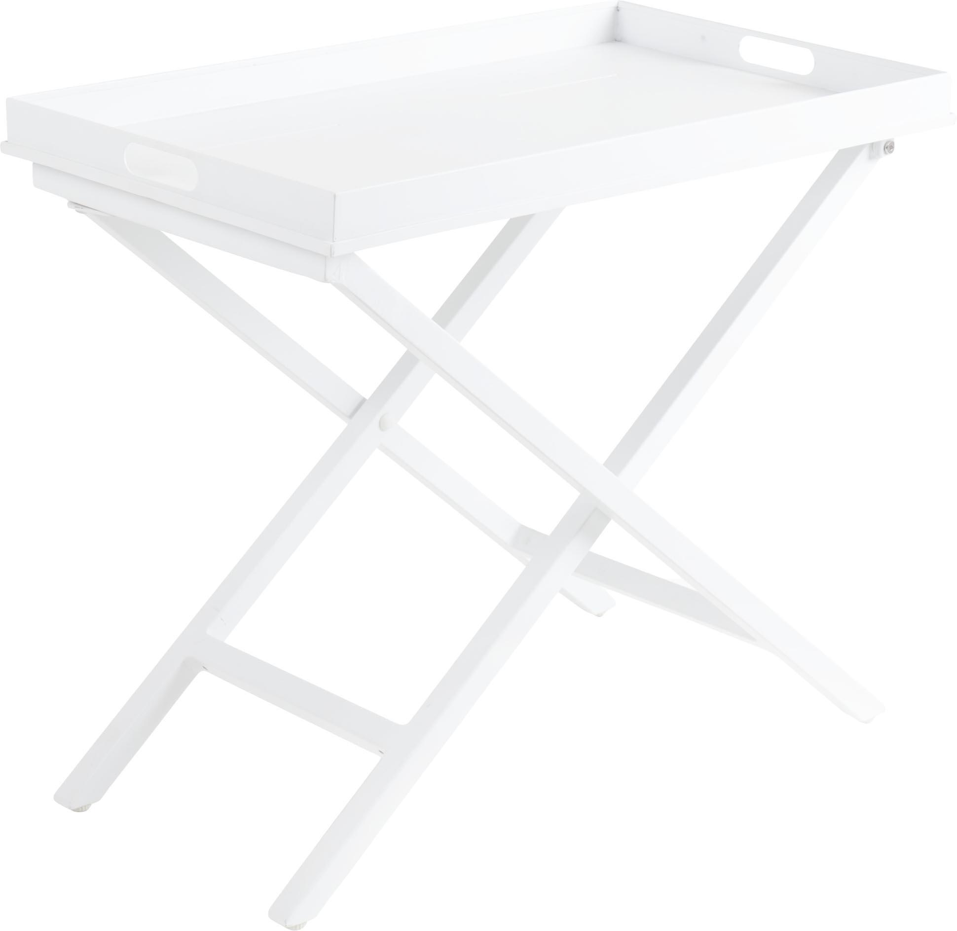 Tabletttisch Vero, Aluminium, beschichtet, Weiss, matt, 70 x 60 cm
