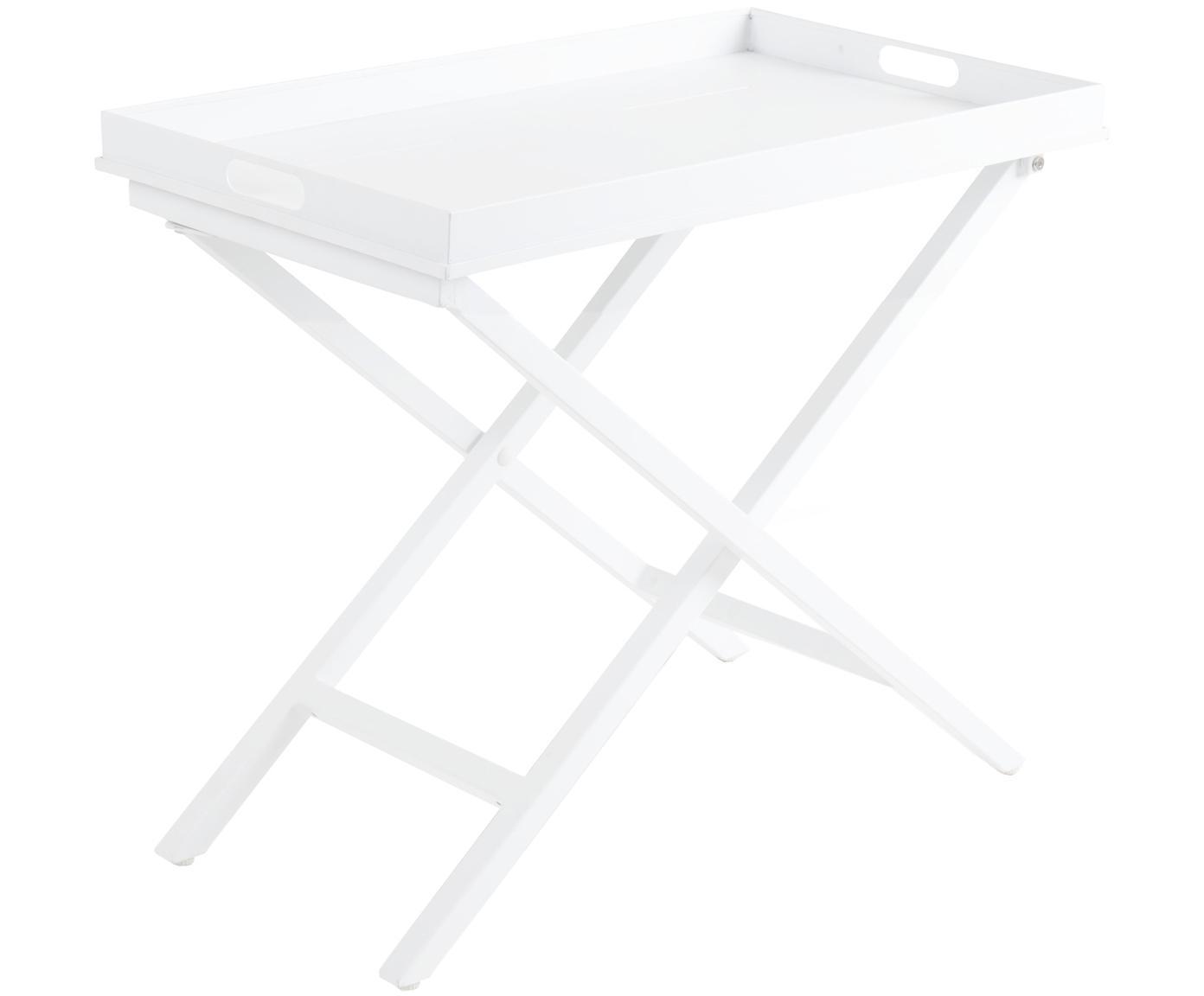 Mesa auxiliar con bandeja extraíble Vero, Aluminio recubierto, Blanco, An 70 x Al 60 cm