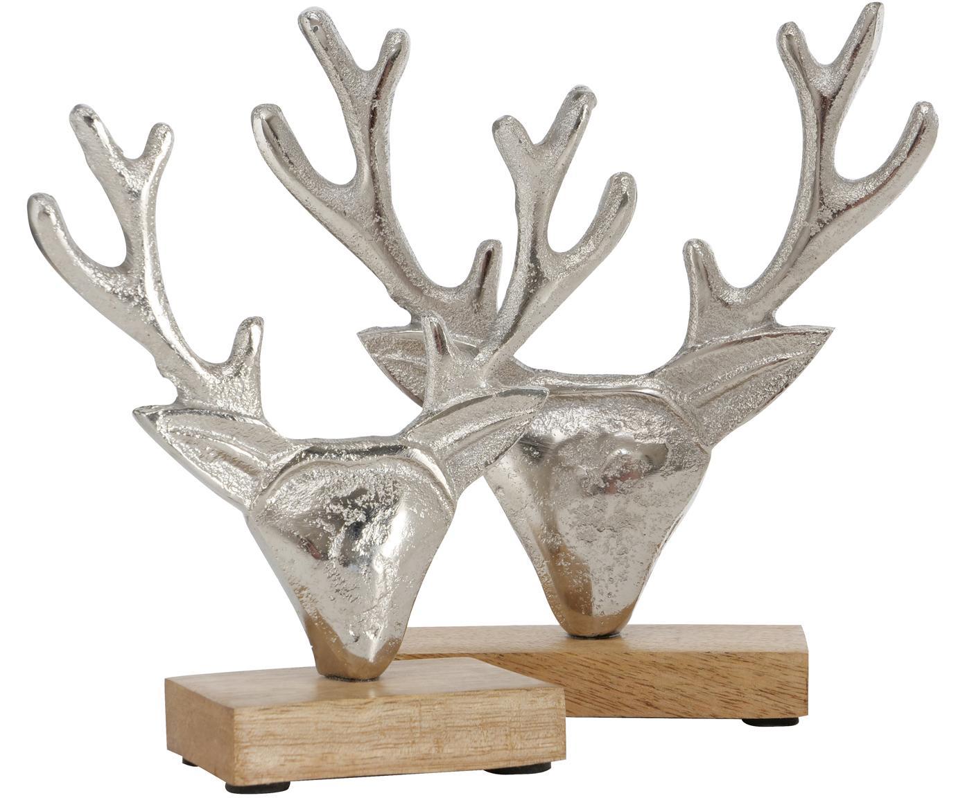 Komplet dekoracji Harribert, 2 elem., Drewno mangowe, aluminium, Drewno mangowe, aluminium, Różne rozmiary