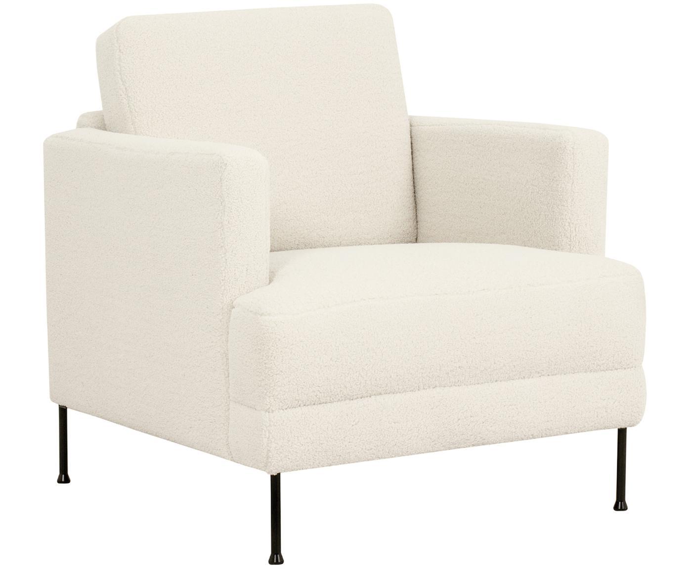 Fotel teddy Fluente, Tapicerka: poliester (futro Teddy) 4, Stelaż: lite drewno sosnowe, Nogi: metal lakierowany, Kremowobiały teddy, S 76 x G 83 cm