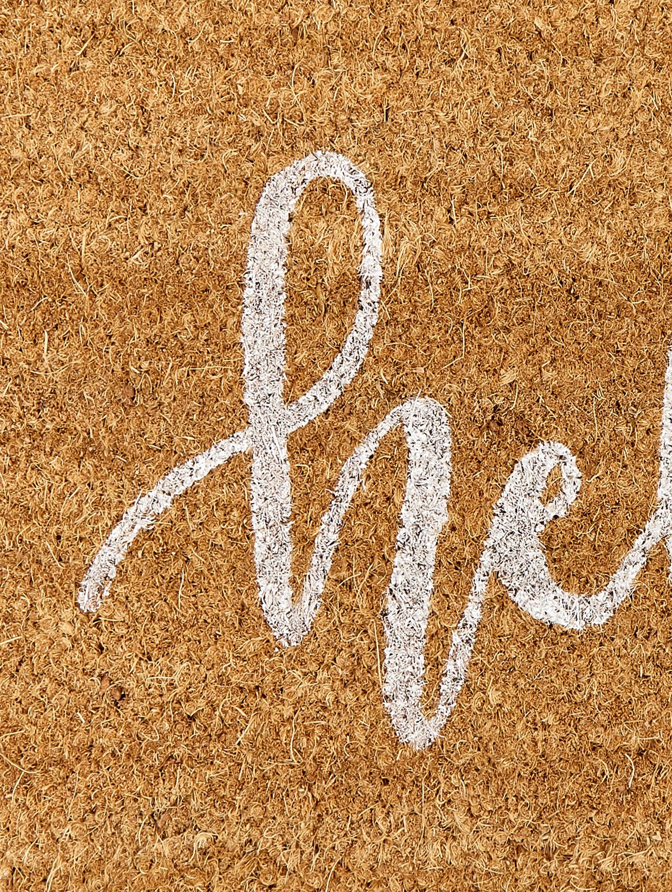 Fußmatte Hello, Flor: Kokosfaser, Flor: Beige, Weiß Rücken: Schwarz, 40 x 60 cm