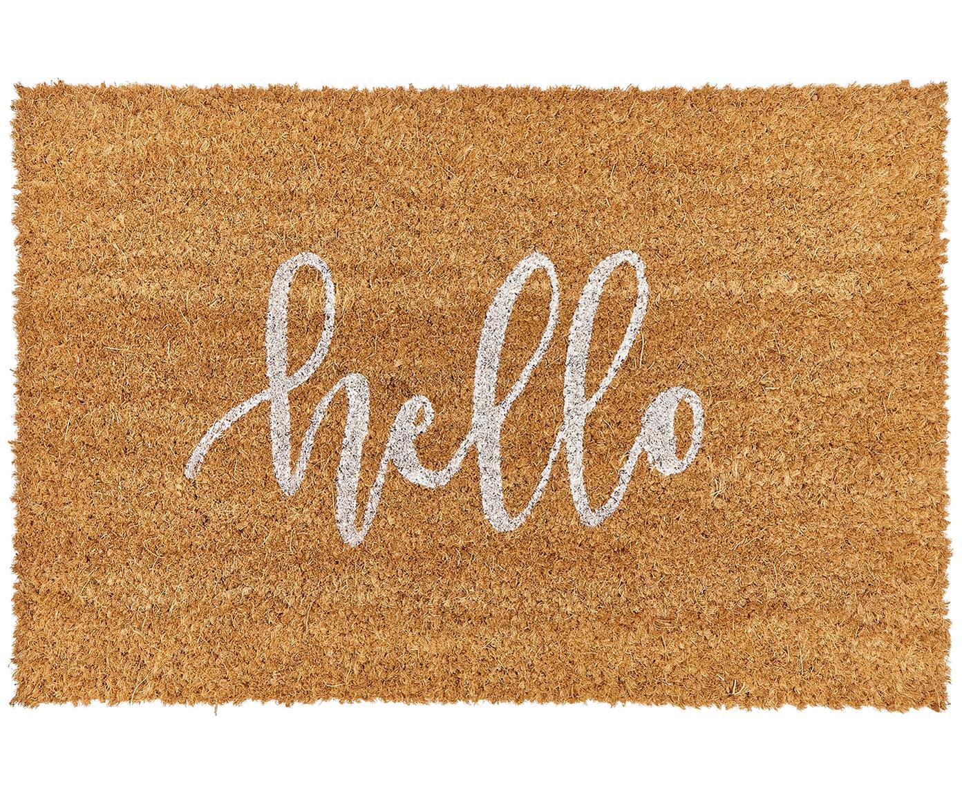 Deurmat Hello, Bovenzijde: kokosvezels, Onderzijde: kunststof (PVC), Bovenzijde: beige, wit. Onderzijde: zwart, 40 x 60 cm