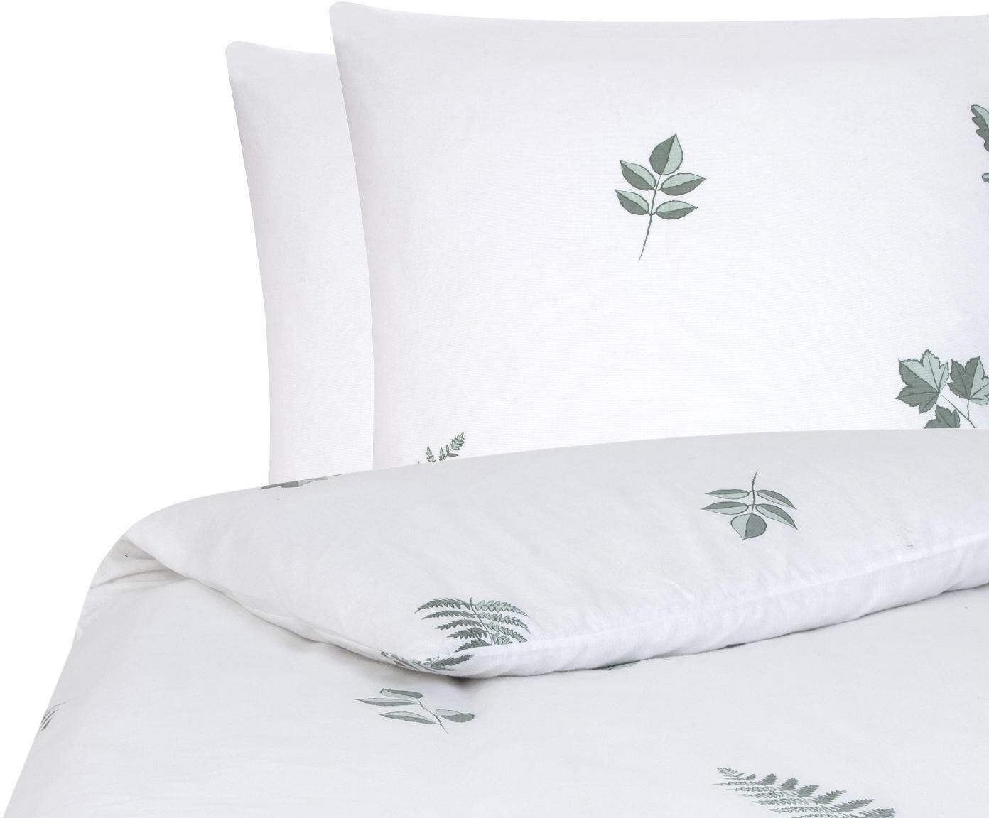 Flanell-Bettwäsche Fraser mit winterlichem Blattmuster, Webart: Flanell Flanell ist ein s, Salbeigrün, Weiß, 240 x 220 cm + 2 Kissen 80 x 80 cm