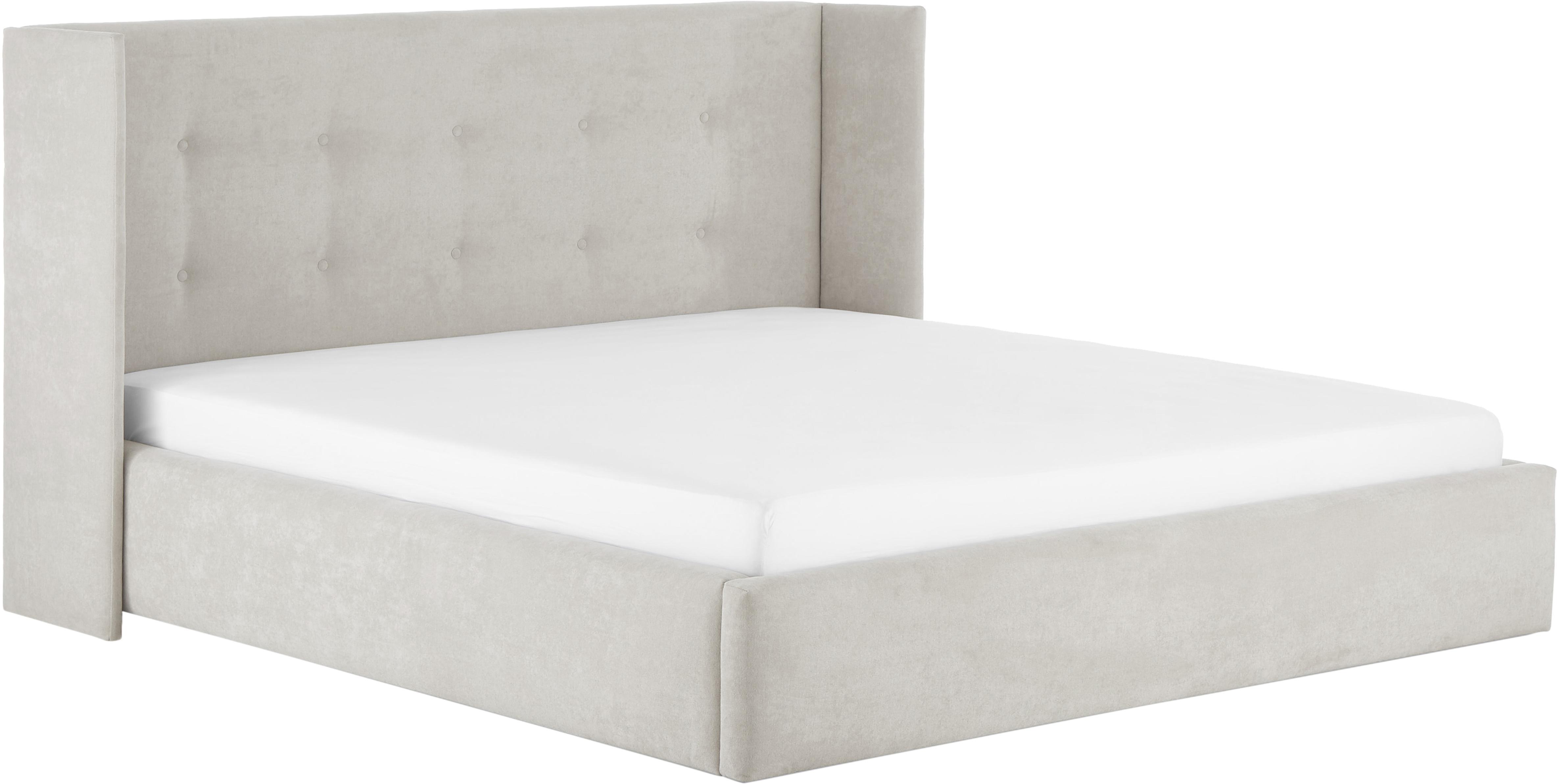Gestoffeerd bed Star, Frame: massief grenenhout, Bekleding: polyester (structuurmater, Lichtgrijs, 140 x 200 cm
