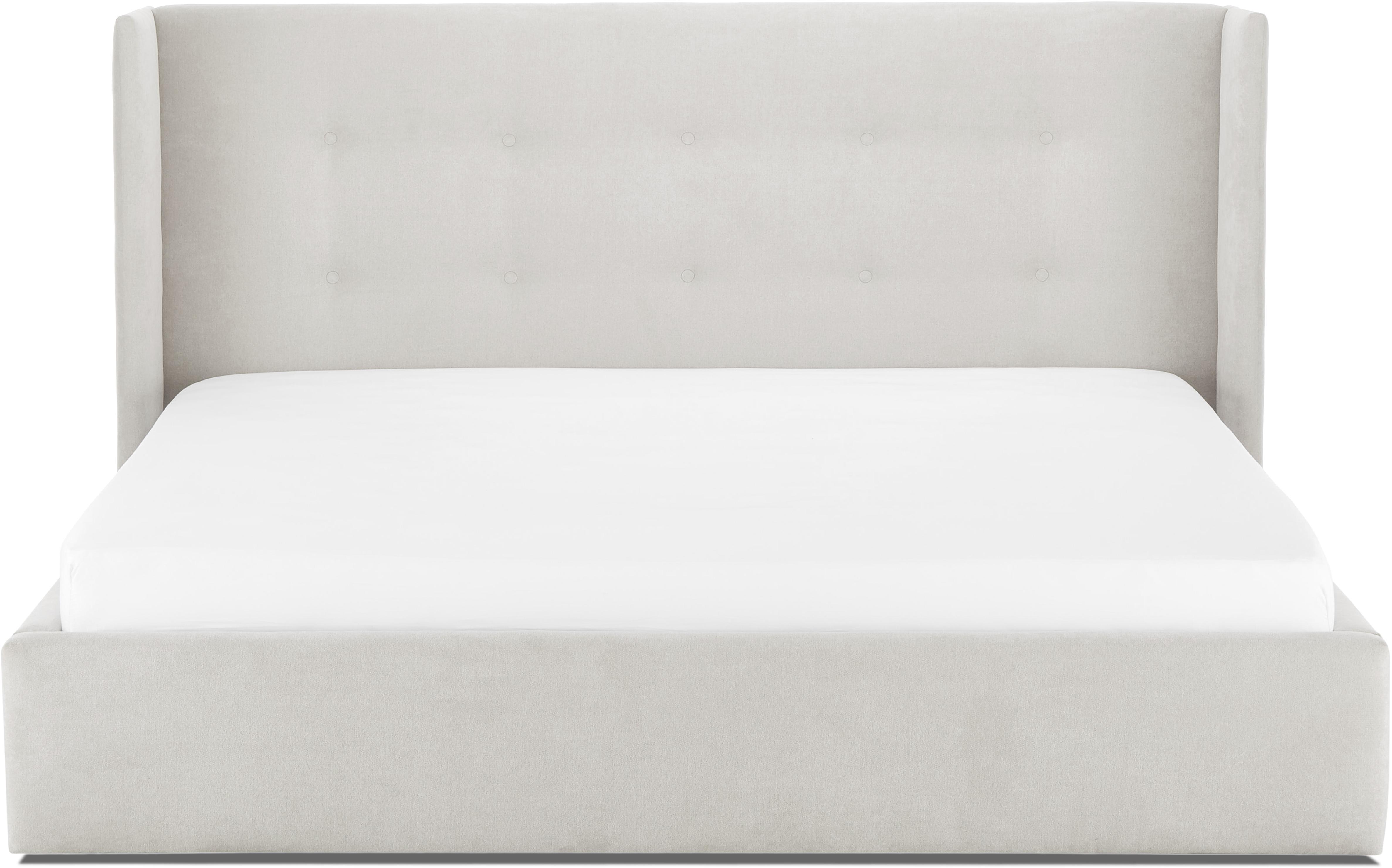 Letto matrimoniale imbottito Star, Rivestimento: velluto di poliestere 40., Grigio chiaro, Larg. 180 x Lung. 200 cm