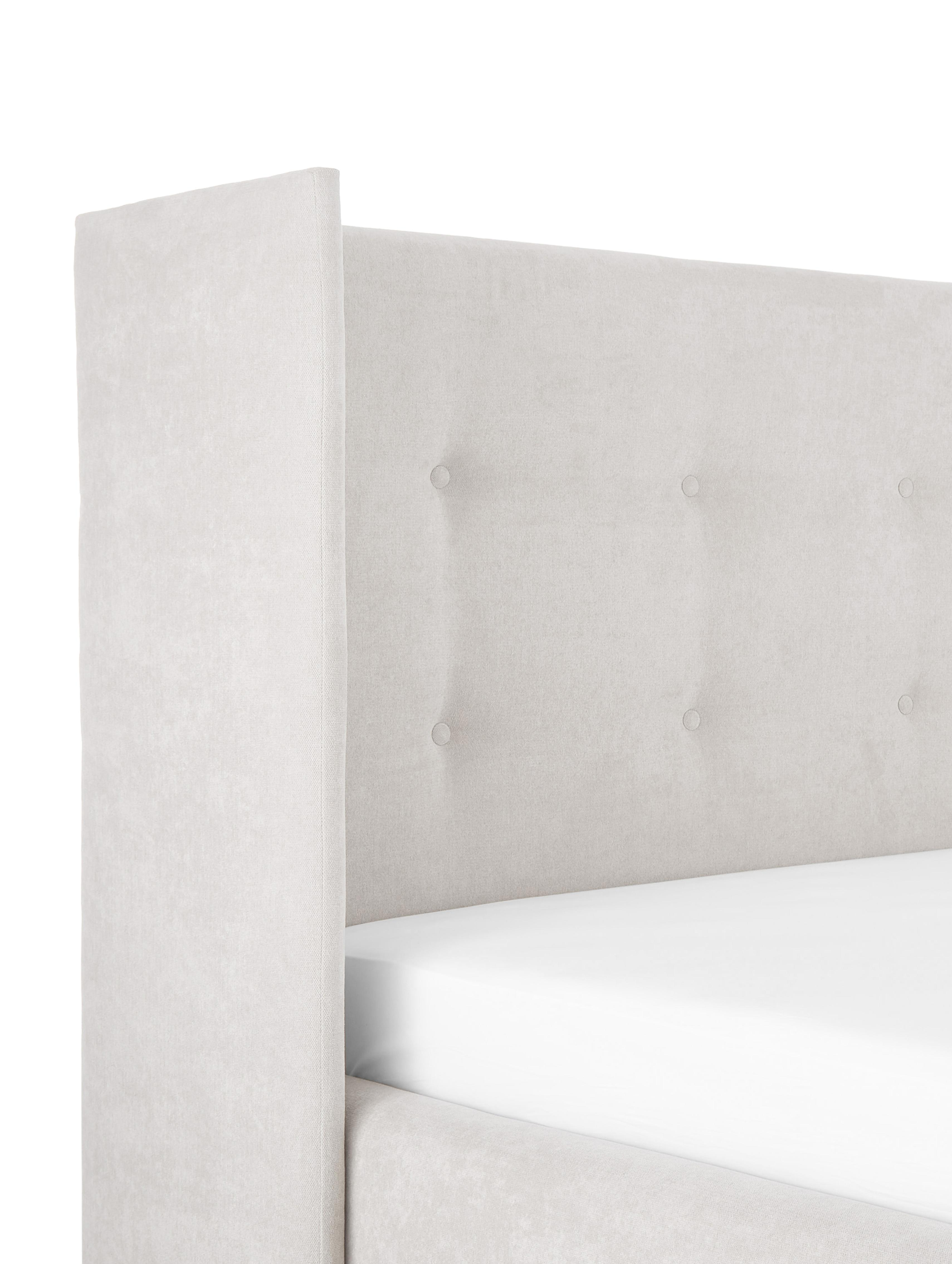 Polsterbett Star, Korpus: Massives Kiefernholz, Bezug: Polyester (Strukturstoff), Beige, 180 x 200 cm
