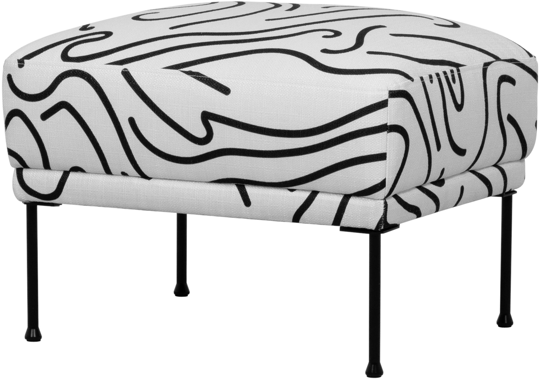 Poggiapiedi da divano in tessuto bianco Fluente, Rivestimento: 100% poliestere 40.000 ci, Struttura: legno di pino massiccio, Piedini: metallo verniciato a polv, Tessuto bianco, Larg. 62 x Alt. 46 cm