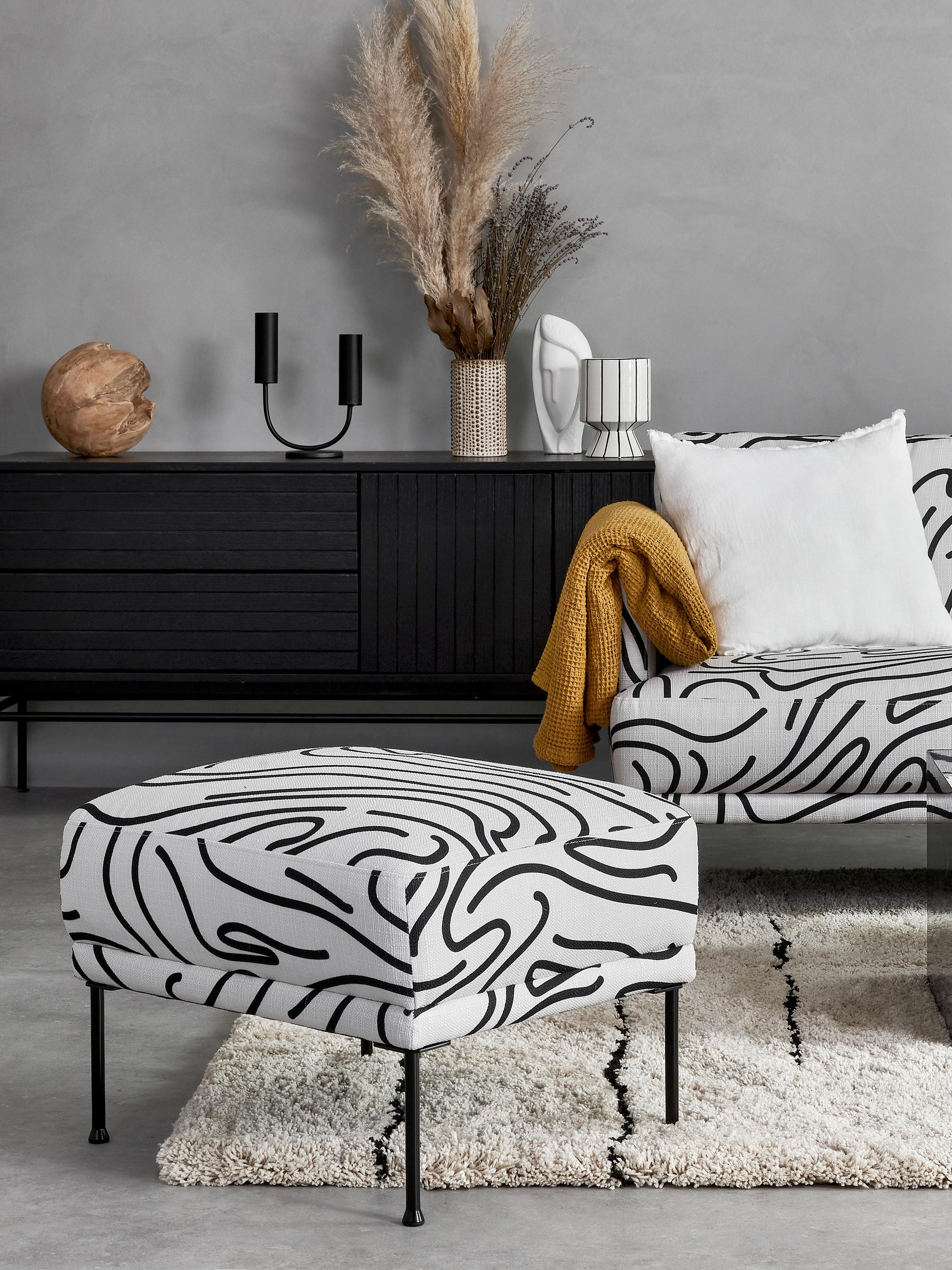 Sofa-Hocker Fluente, Bezug: 100% Polyester Der hochwe, Gestell: Massives Kiefernholz, Webstoff Weiss, 62 x 46 cm