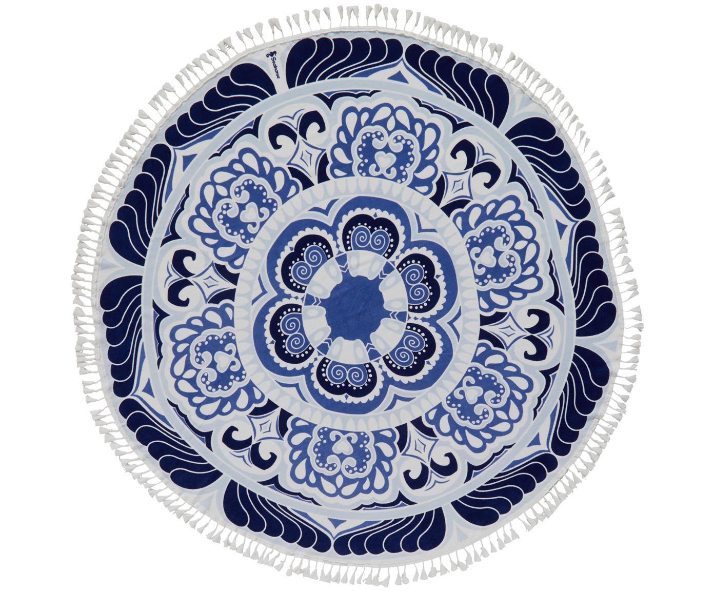 Telo mare Carouse, Retro: spugna (cotone) Qualità m, Blu, bianco, Ø 150 cm