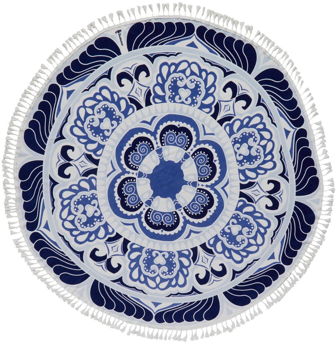 Strandtuch Carouse, Vorderseite: 100% Velour (Baumwolle), Rückseite: Frottee (Baumwolle) Mitte, Blautöne, Weiss, Ø 150 cm