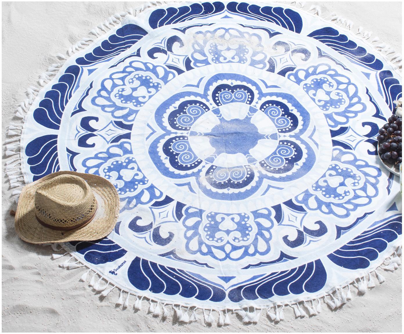Ręcznik plażowy Carouse, Odcienie niebieskiego, biały, Ø 150 cm