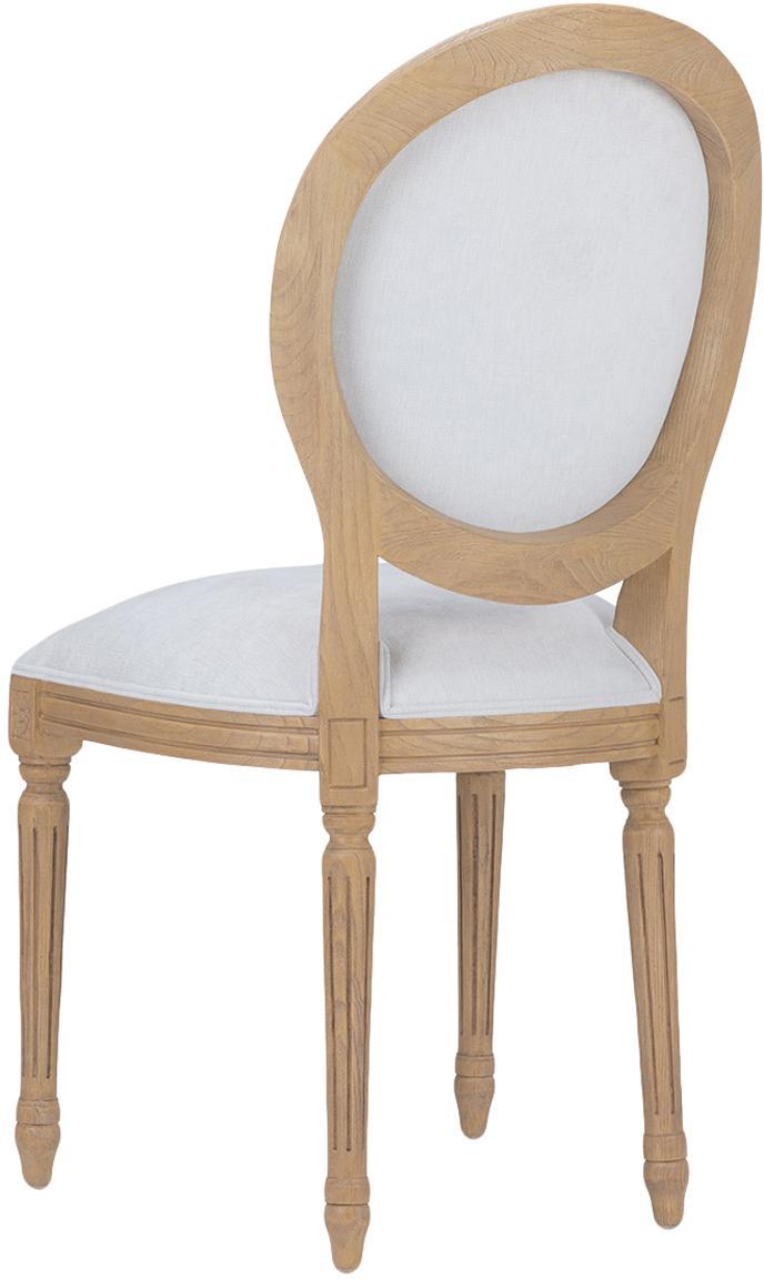 Silla de madera de roble tapizada, Medallon, Marrón, crema, An 50 x Al 101 cm