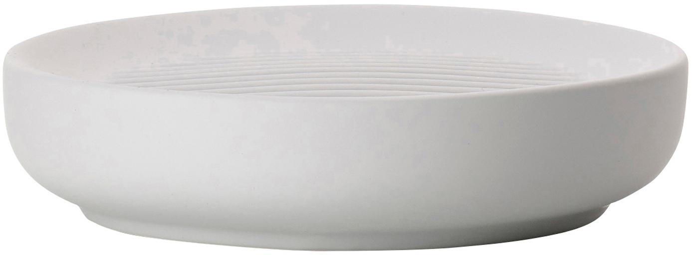 Jabonera Ume, Porcelana, Gris claro, Ø 12 x Al 3 cm