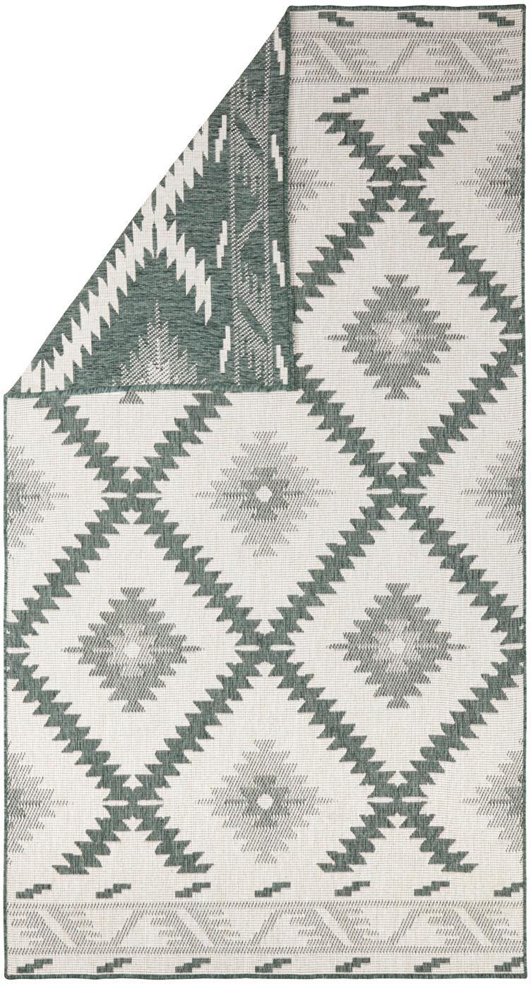 Dubbelzijdig in- en outdoor vloerkleed Malibu in groen/crème kleur, Groen, crèmekleurig, B 80 x L 150 cm (maat XS)