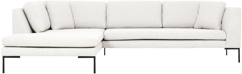 Hoekbank Emma, Bekleding: polyester, Frame: massief grenenhout, Poten: gepoedercoat metaal, Geweven stof crèmewit, poten zwart, B 302 x D 220 cm