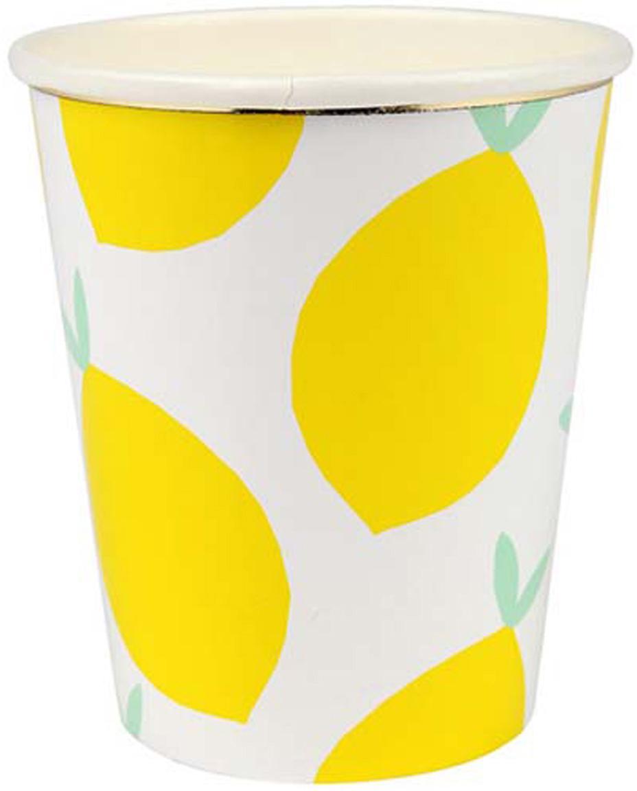 Papieren bekers Lemon, 8 stuks, Gecoat papier, Wit, geel, groen, Ø 8 x H 8 cm