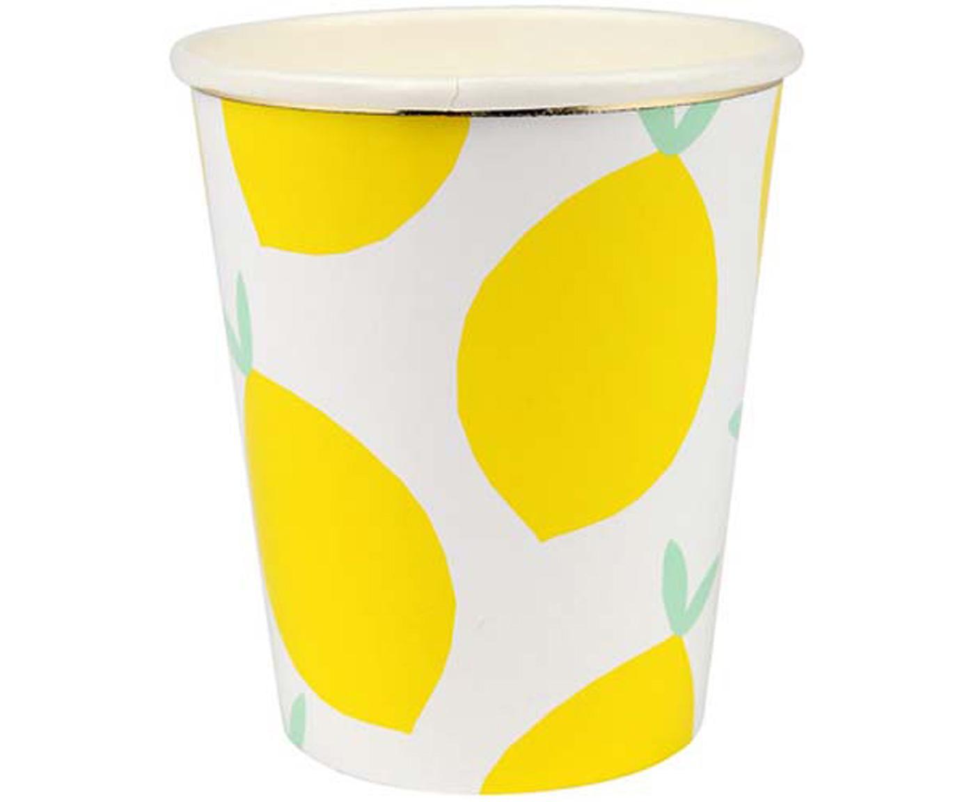 Vasos de papel Lemon, 8uds., Papel, foliert, Blanco, amarillo, verde, Ø 8 x Al 8 cm