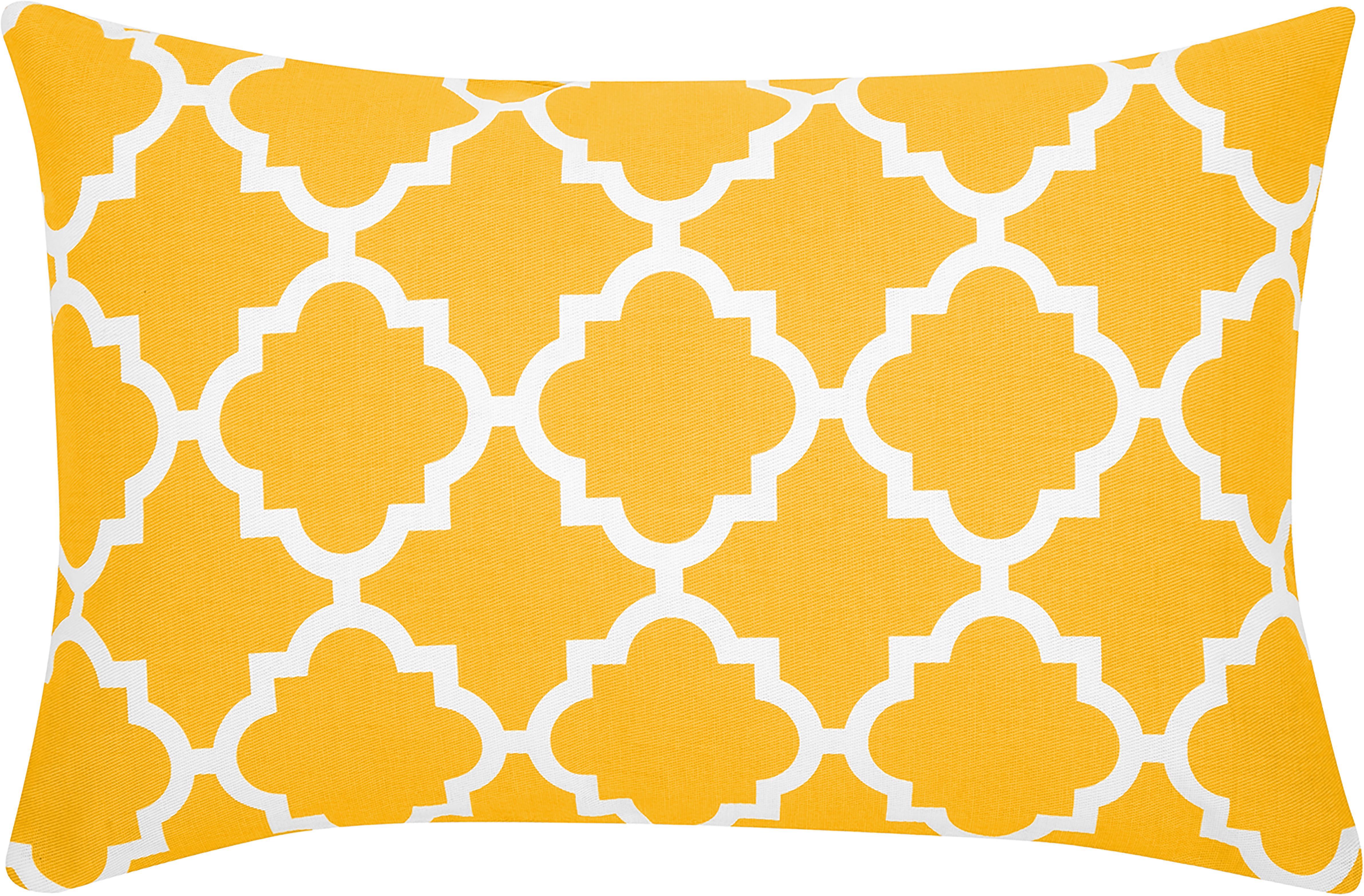 Kissenhülle Lana mit grafischem Muster, Baumwolle, Gelb, Weiß, 30 x 50 cm