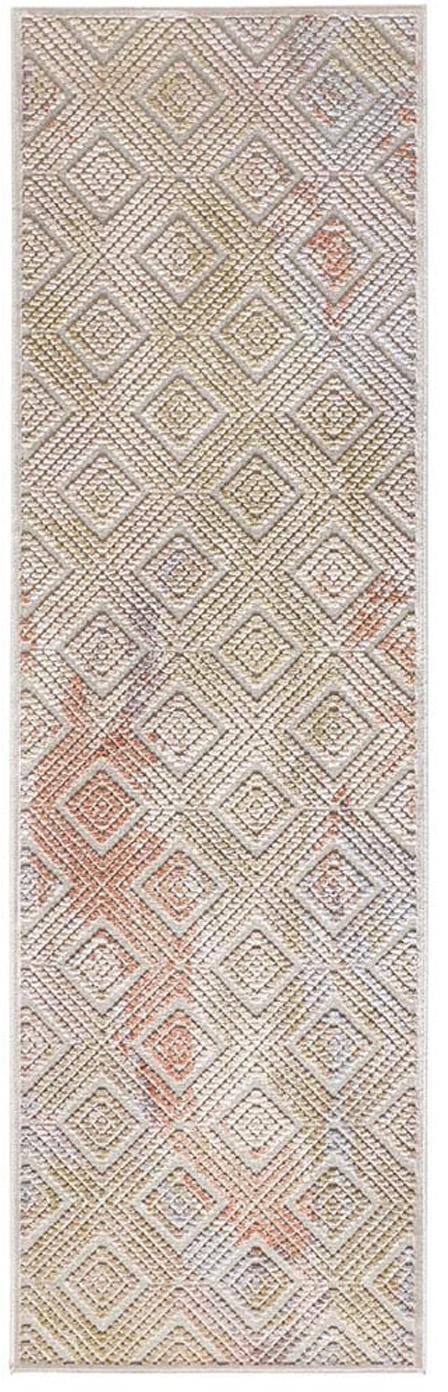 Viskoseläufer Isère mit Hoch-Tief-Effekt, Flor: 90% Viskose, 10% Polyeste, Silbergrau, Mehrfarbig, 80 x 250 cm