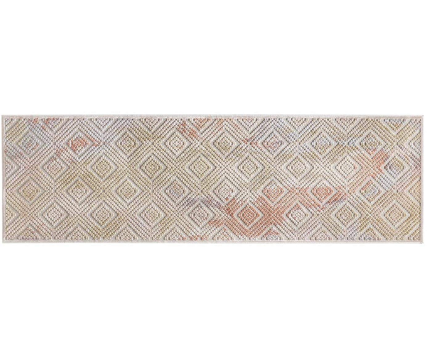 Passatoia in viscosa con effetto a rilievo Isère, Retro: juta, Grigio argento, multicolore, Larg. 80 x Lung. 250 cm
