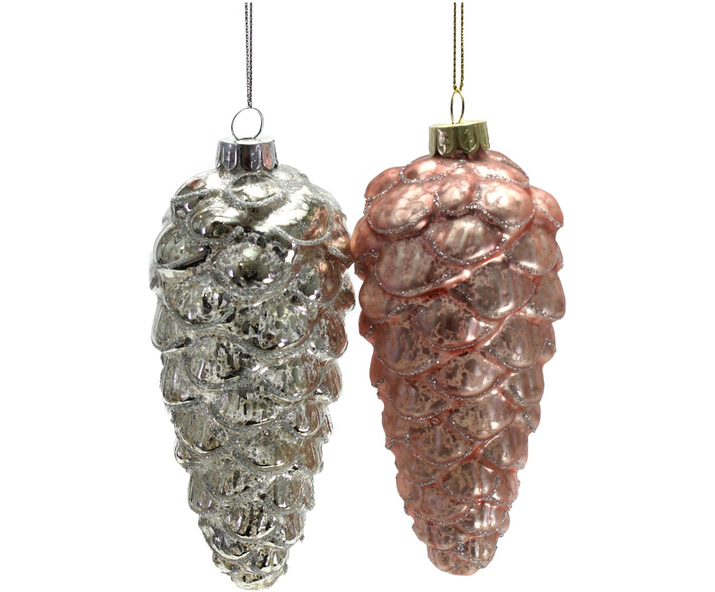 Decoratieve hangersset Colorful Christmas, 4-delig, Gelakt glas, Roze, zilverkleurig, Ø 7 x H 14 cm