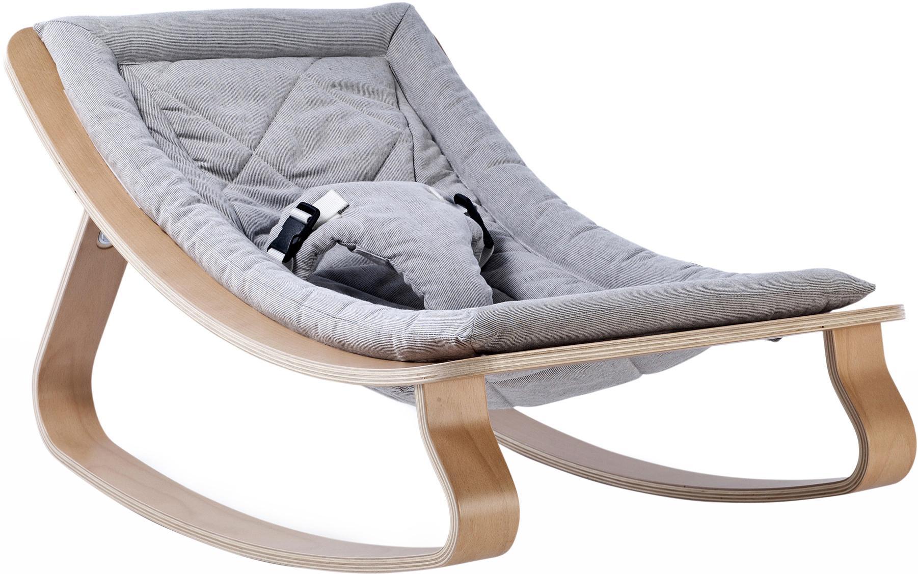Baby wipstoel Levo, Frame: berkenhout, beukenhout, l, Bekleding: katoen, Lichtbruin, grijs, 70 x 40 cm