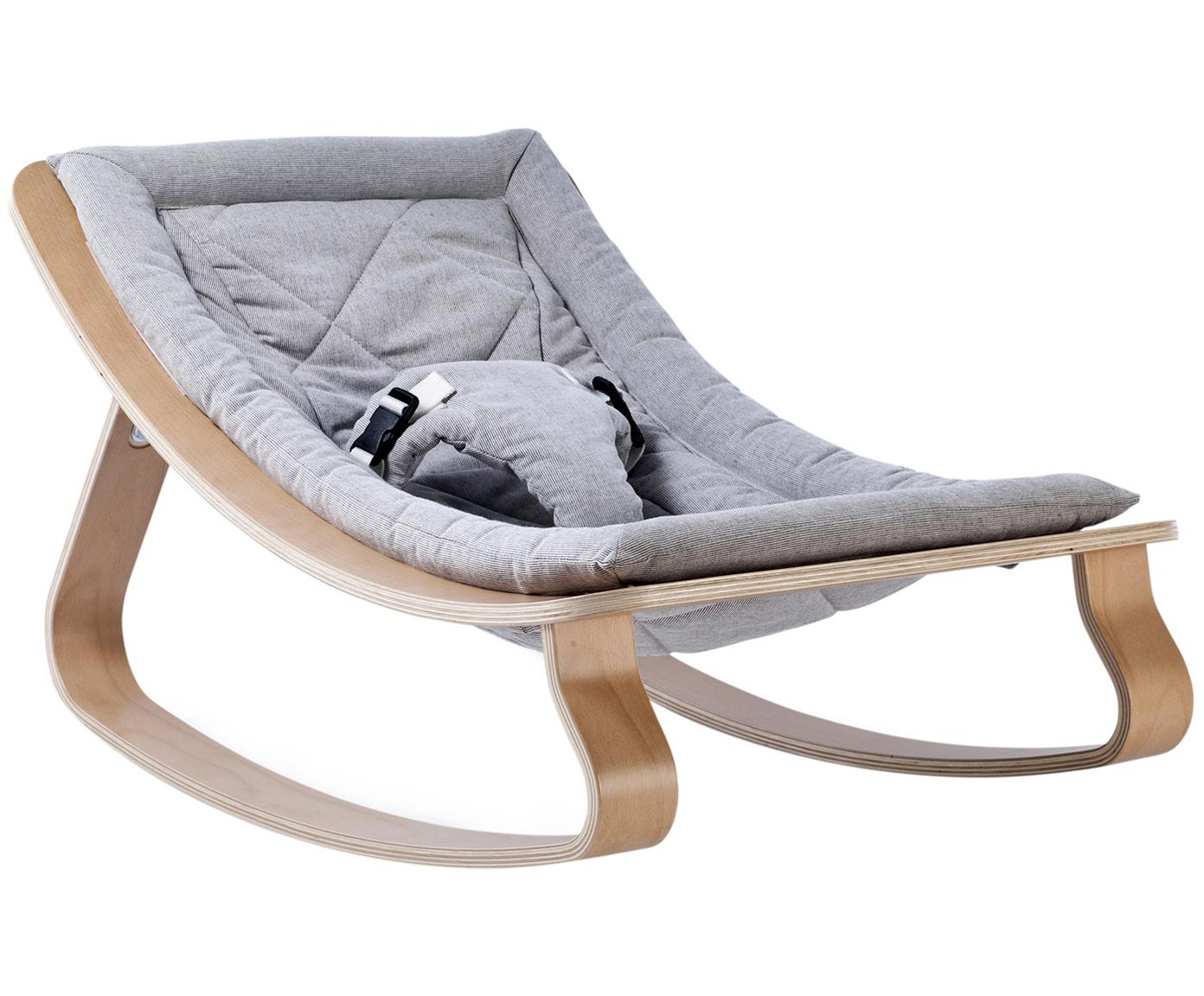 Babywippe Levo, Gestell: Birkenholz, Buchenholz, k, Bezug: Baumwolle, Hellbraun, Grau, 70 x 40 cm