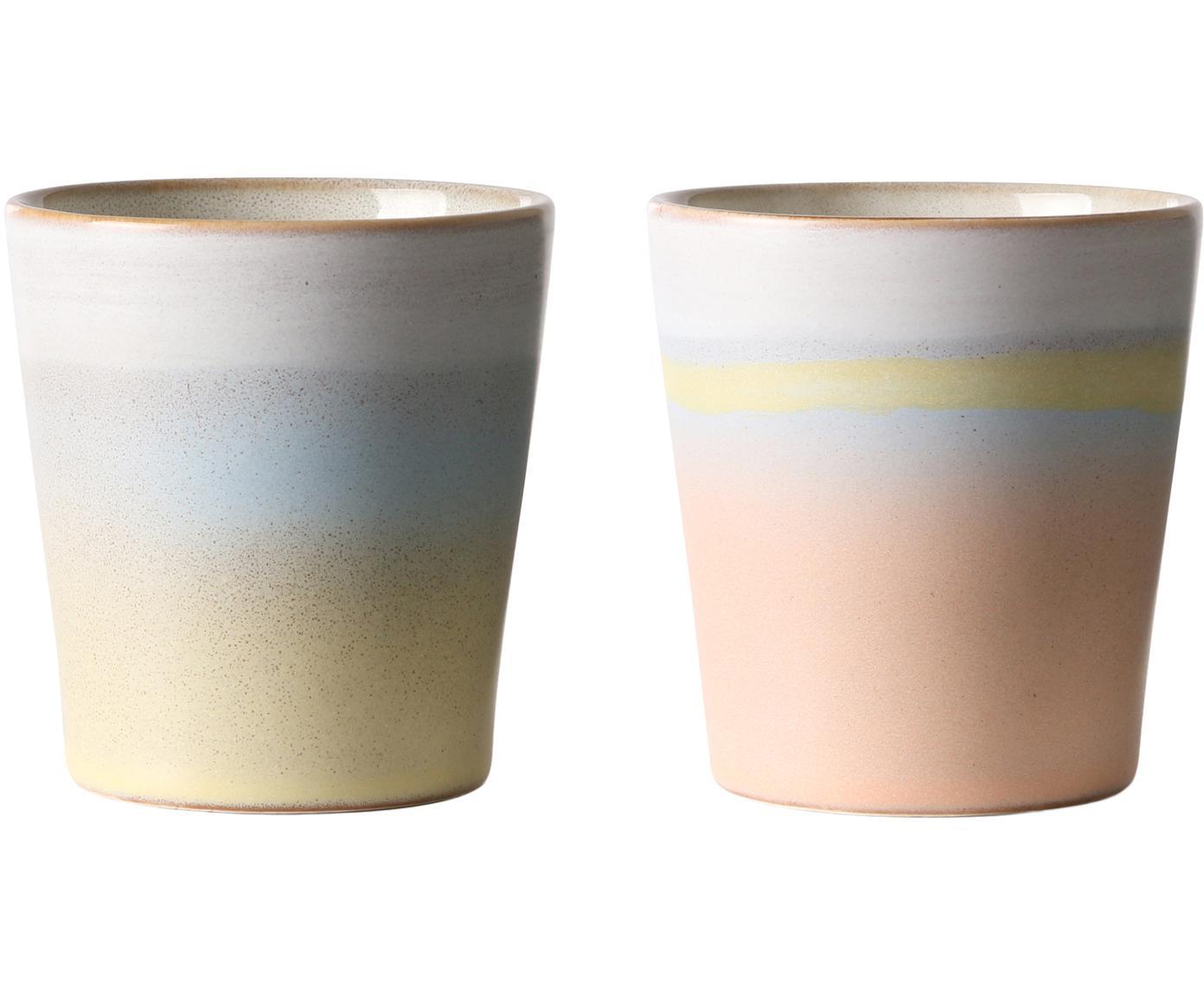 Set di 2 tazze fatte a mano 70's, Ceramica, Multicolore, Ø 8 x Alt. 8 cm