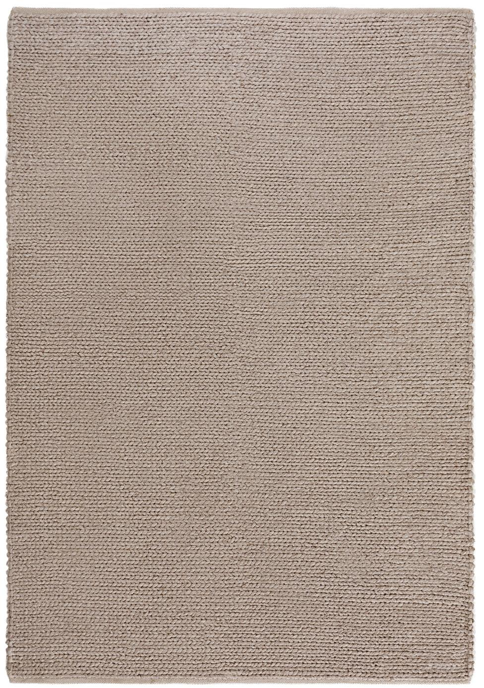 Handgewebter Wollteppich Uno in Taupe, Flor: 60% Wolle, 40% Polyester, Taupe, B 120 x L 170 cm (Größe S)