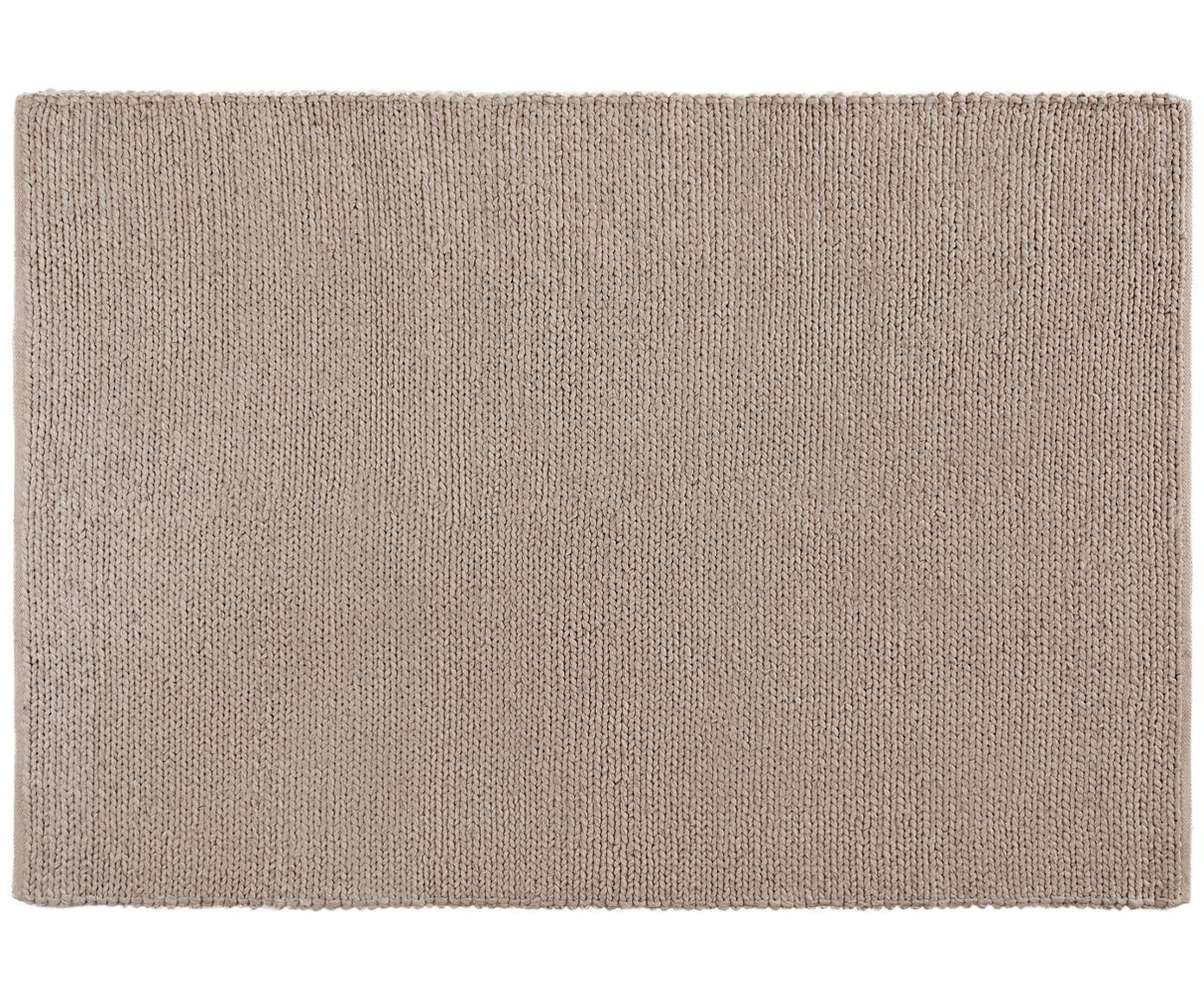 Handgeweven wollen vloerkleed Uno, Bovenzijde: 60% wol, 40% polyester, Onderzijde: katoen, Taupe, B 120 x L 170 cm (maat S)