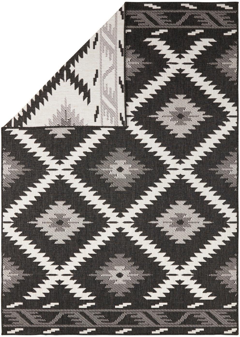 In- und Outdoor-Wendeteppich Malibu in Schwarz/Creme, Schwarz, Creme, B 200 x L 290 cm (Größe L)