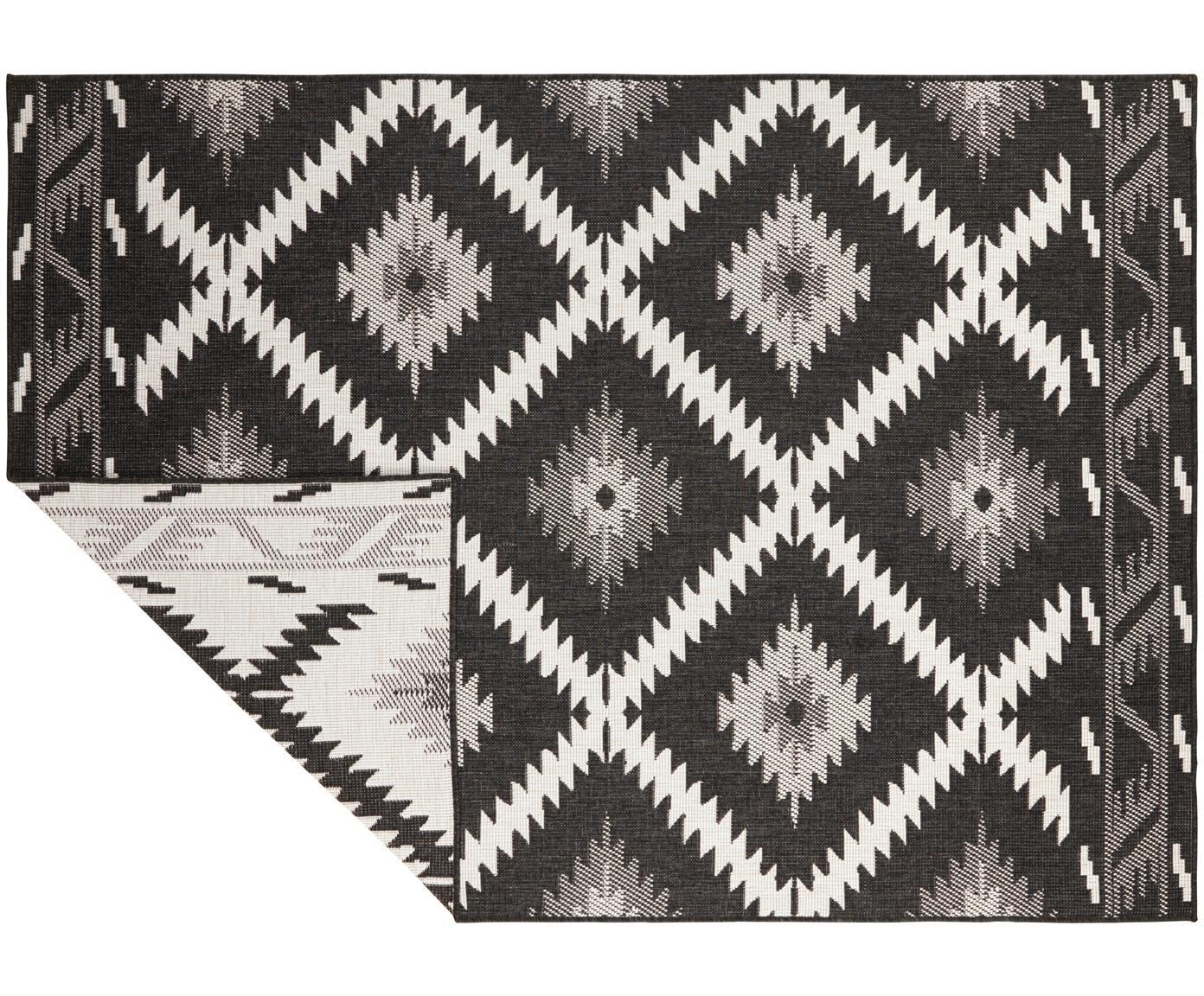 Dubbelzijdig in- en outdoor vloerkleed Malibu in zwart/crèmekleur, Zwart, crèmekleurig, B 200 x L 290 cm (maat L)