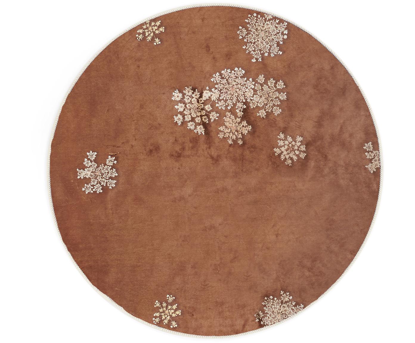 Rond vloerkleed Lauren met bloemenprint, 60% polyester, 30% thermoplastisch polyurethaan, 10% katoen, Bruin, beige, Ø 90 cm (maat XS)