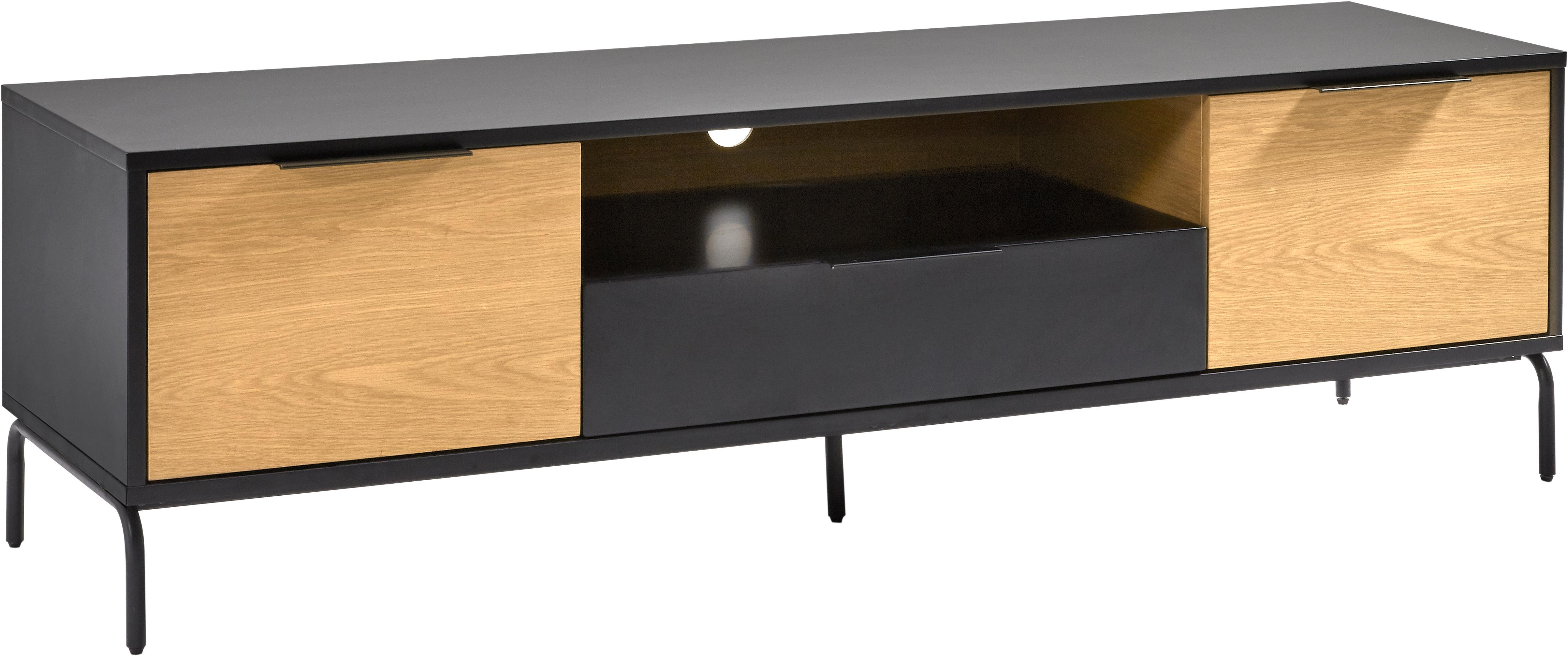 Szafka RTV z 2 drzwiczkami i szufladą Stellar, Czarny, drewno dębowe, S 170 x W 50 cm