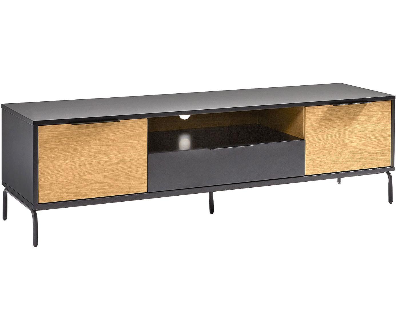 Mobile TV con 2 ante e un cassetto Stellar, Nero, legno di quercia, Larg. 170 x Alt. 50 cm