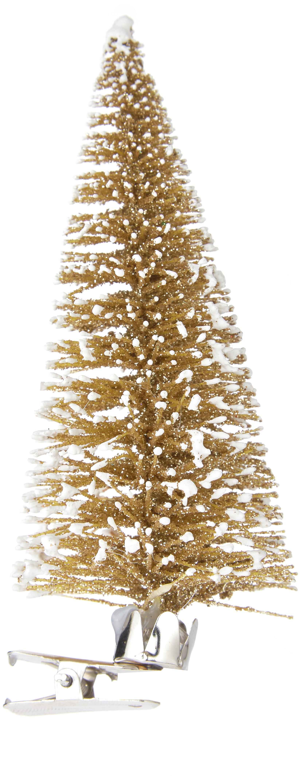 Baumanhänger mit Clip Felicia, Kunststoff (PE), Goldfarben, Ø 5 x H 13 cm