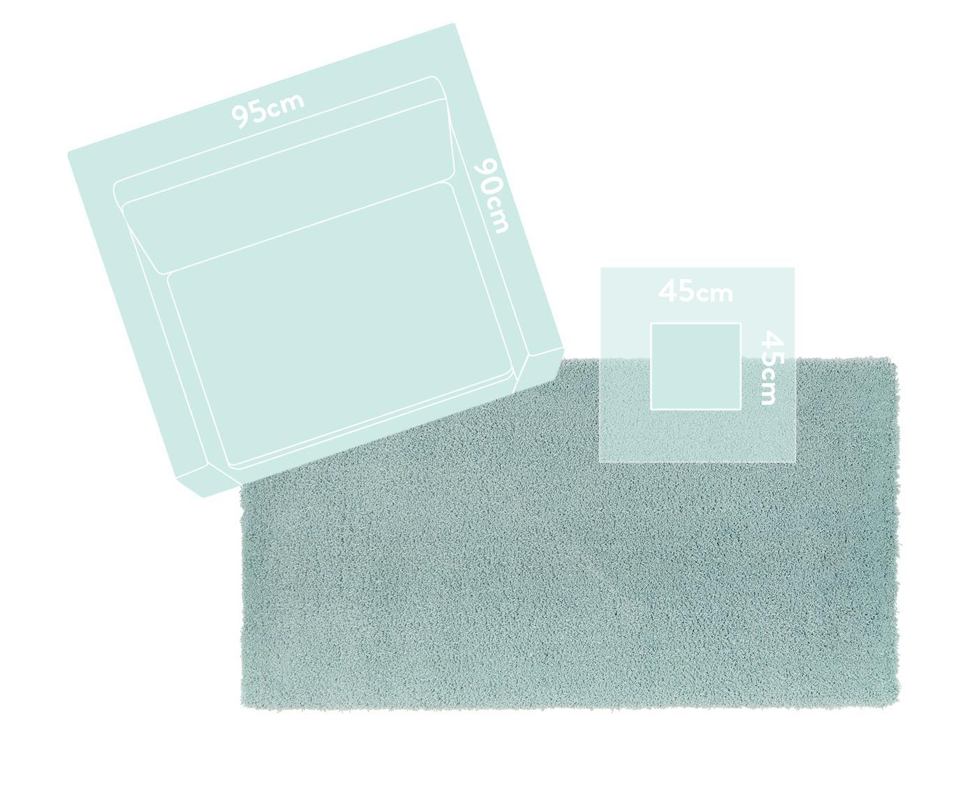 Pluizig hoogpolig vloerkleed Leighton in mintgroen, Bovenzijde: 100% polyester (microveze, Onderzijde: 70% polyester, 30% katoen, Mintgroen, B 160 x L 230 cm (maat M)