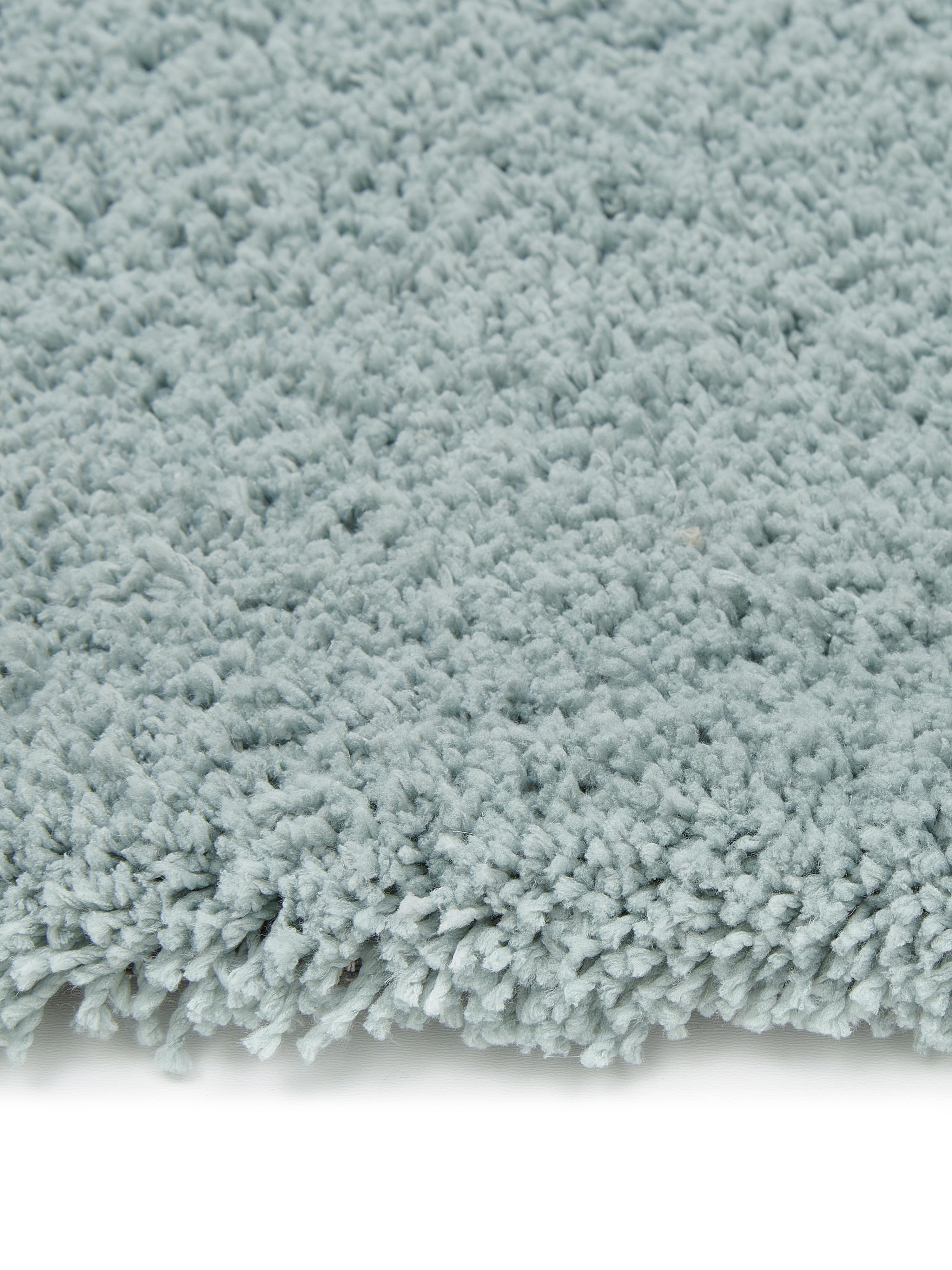 Pluizig hoogpolig vloerkleed Leighton in mintgroen, Bovenzijde: 100% polyester (microveze, Onderzijde: 70% polyester, 30% katoen, Mintgroen, B 200 x L 300 cm (maat L)