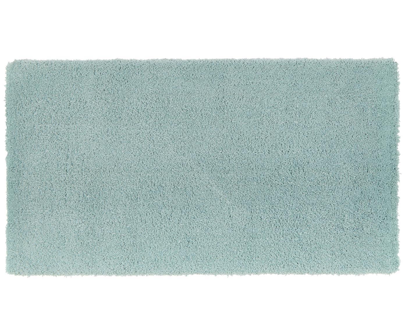 Pluizig hoogpolig vloerkleed Leighton in mintgroen, Bovenzijde: 100% polyester (microveze, Onderzijde: 100% polyester, Mintgroen, B 80 x L 150 cm (maat XS)