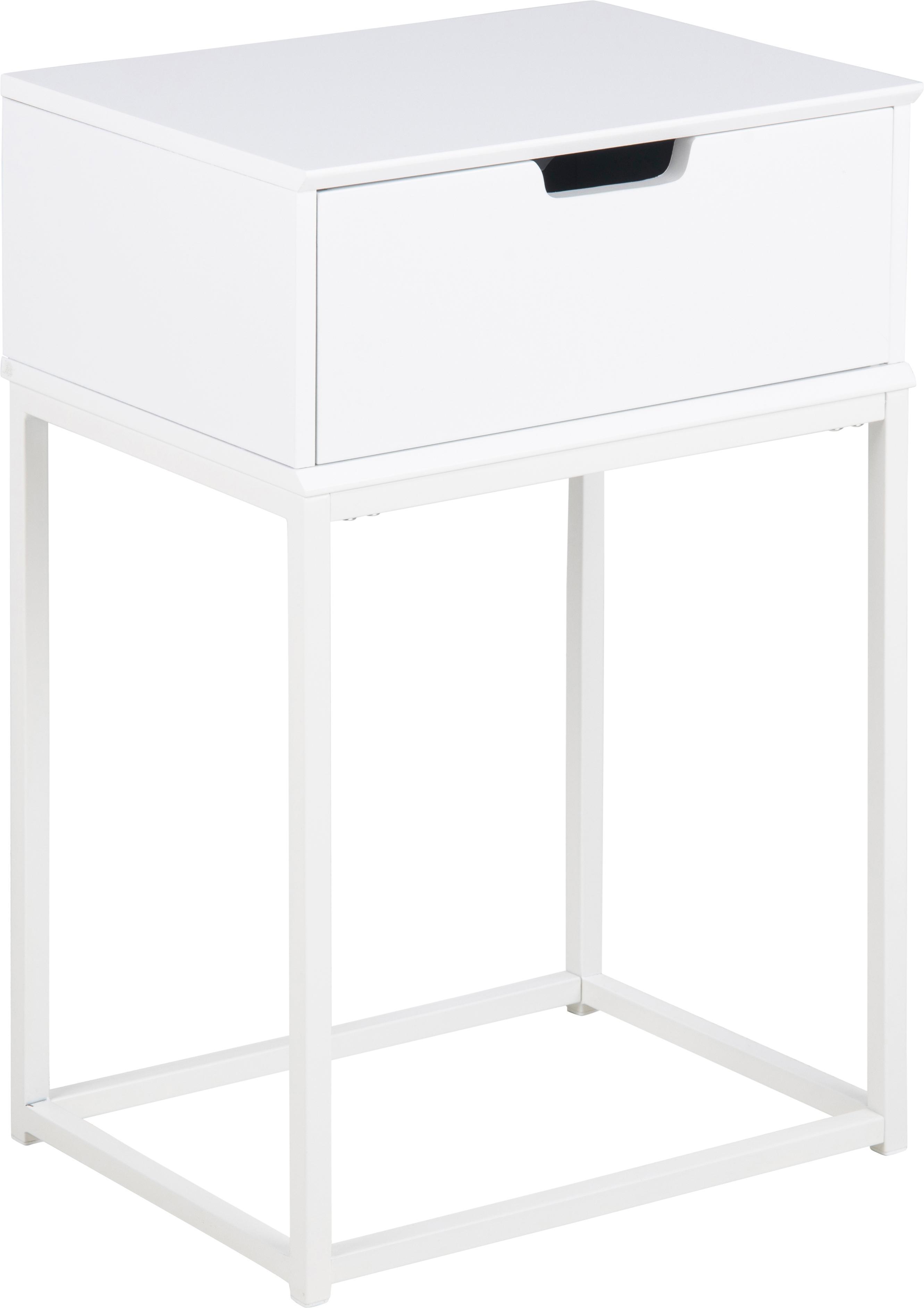 Comodino con cassetto Mitra, Legno, metallo, Bianco, Larg. 40 x Alt. 62 cm