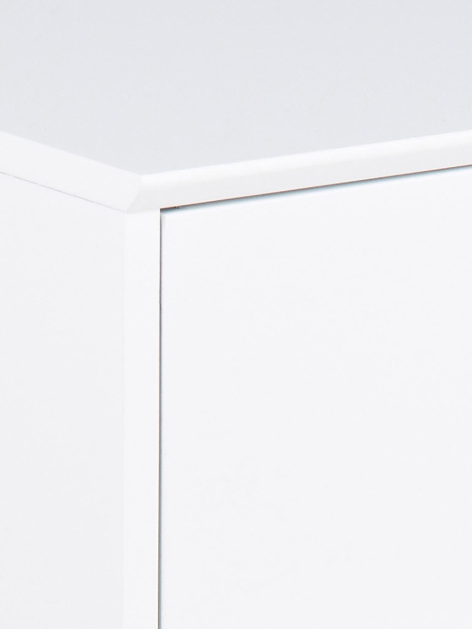 Nachttisch Mitra mit Schublade, Mitteldichte Holzfaserplatte (MDF), lackiert, Metall, pulverbeschichtet, Weiß, 40 x 62 cm