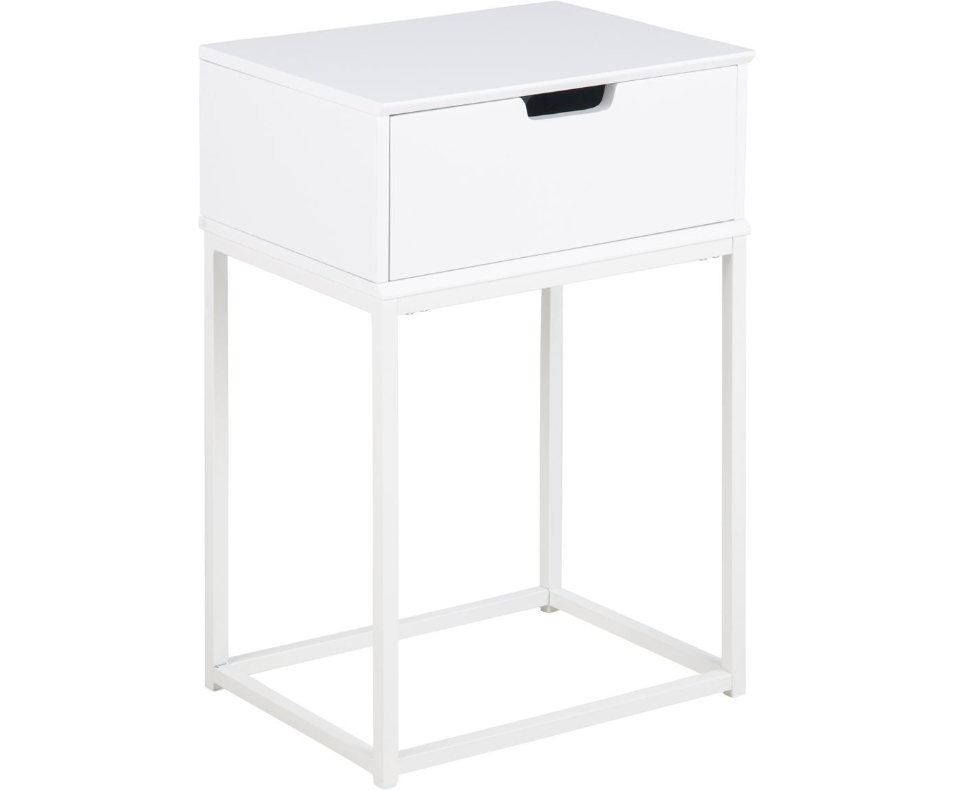 Nachttisch Mitra mit Schublade, Mitteldichte Holzfaserplatte (MDF), lackiert, Metall, pulverbeschichtet, Weiss, 40 x 62 cm