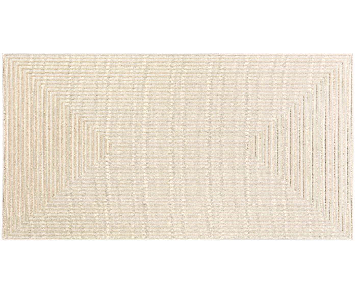 Tappeto con effetto a rilievo Diamond, Retro: 70%juta, 30%lattice sin, Crema, beige chiaro, Larg. 80 x Lung. 150 cm (taglia XS)