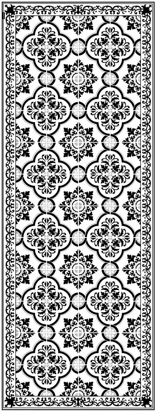 Passatoia in vinile riciclabile Elena, Vinile riciclabile, Nero, bianco, grigio, Larg. 68 x Lung. 180 cm