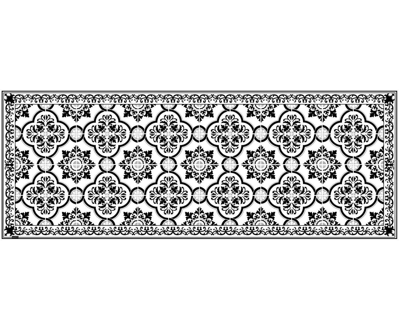 Vinyl vloermat Elena, Recyclebaar vinyl, Zwart, wit, grijs, 68 x 180 cm