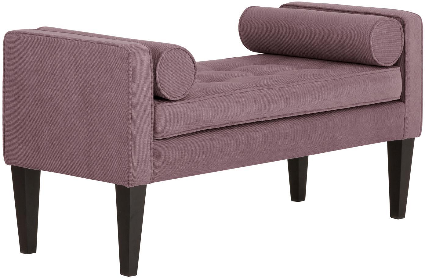Bettbank Mia mit Kissen, Bezug: 92% Polyester, 8% Nylon, Beine: Birkenholz, lackiert, Bezug: Pflaume<br>Beine: Schwarz, 115 x 61 cm