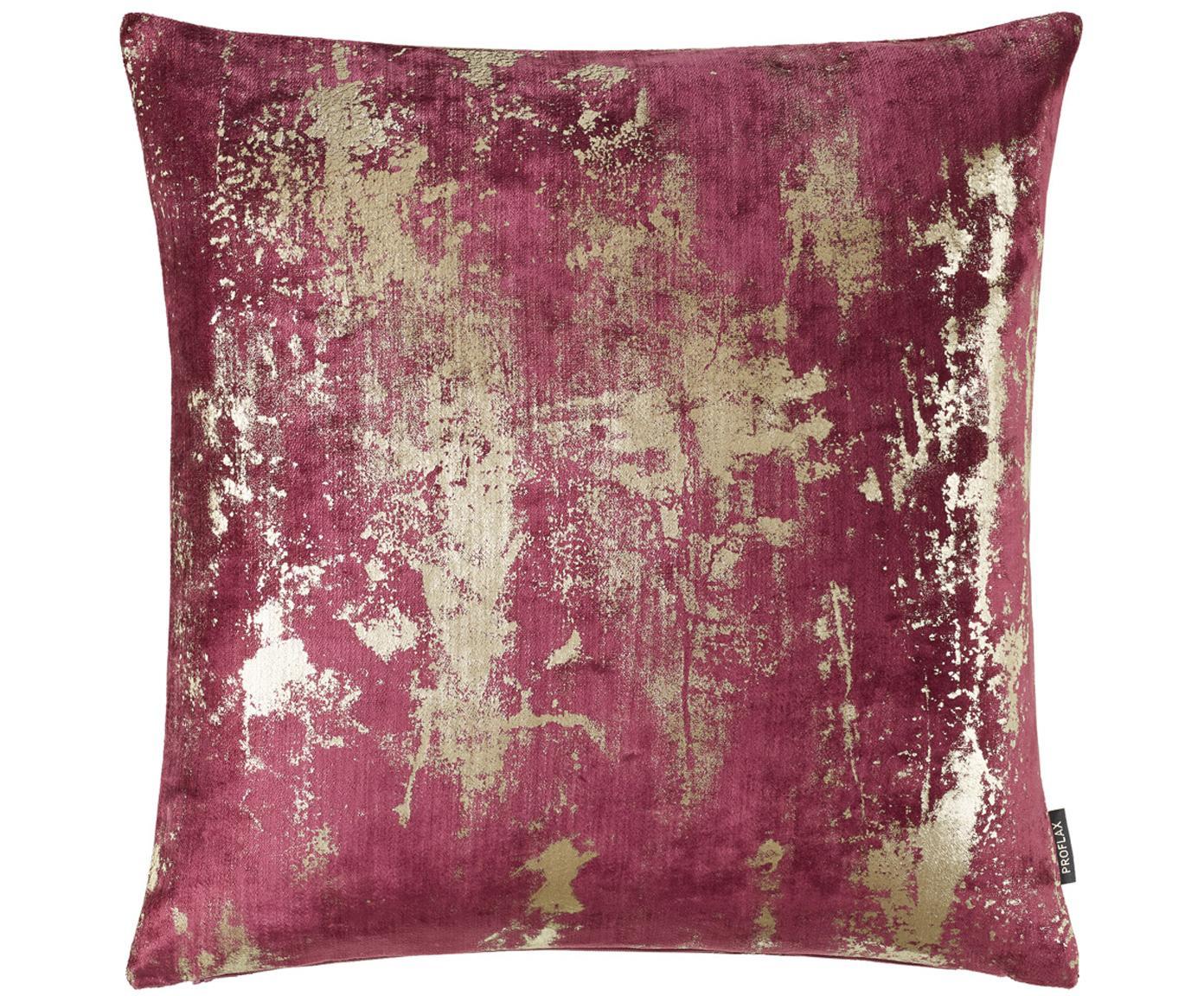 Samt-Kissenhülle Shiny mit schimmerndem Vintage Muster, 100% Polyestersamt, Weinrot, 40 x 40 cm